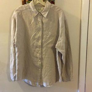 Eddie Bauer 100 % Beige Linen Button Down Shirt